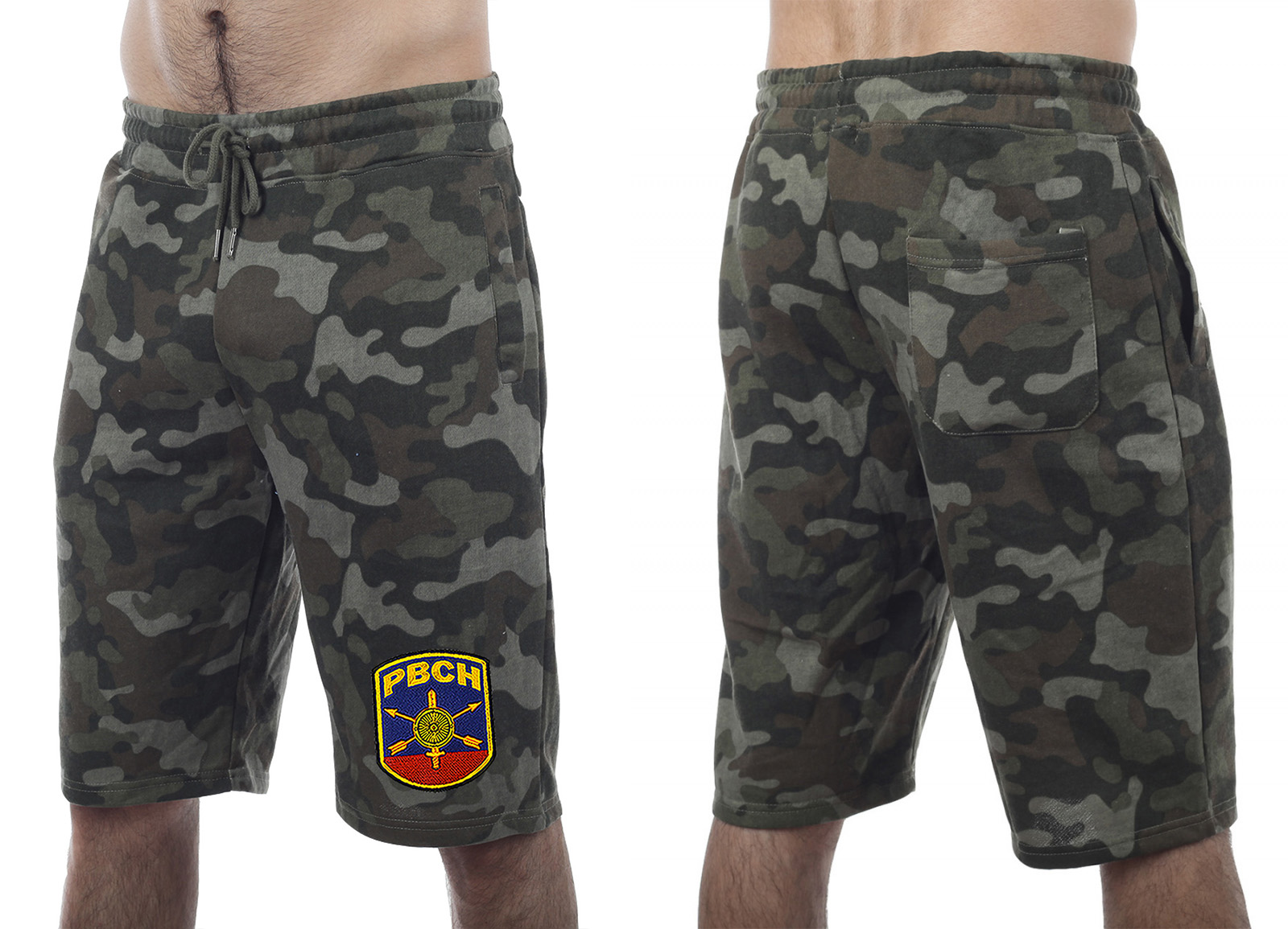 Армейские камуфляжные хаки-шорты с нашивкой РВСН - купить оптом