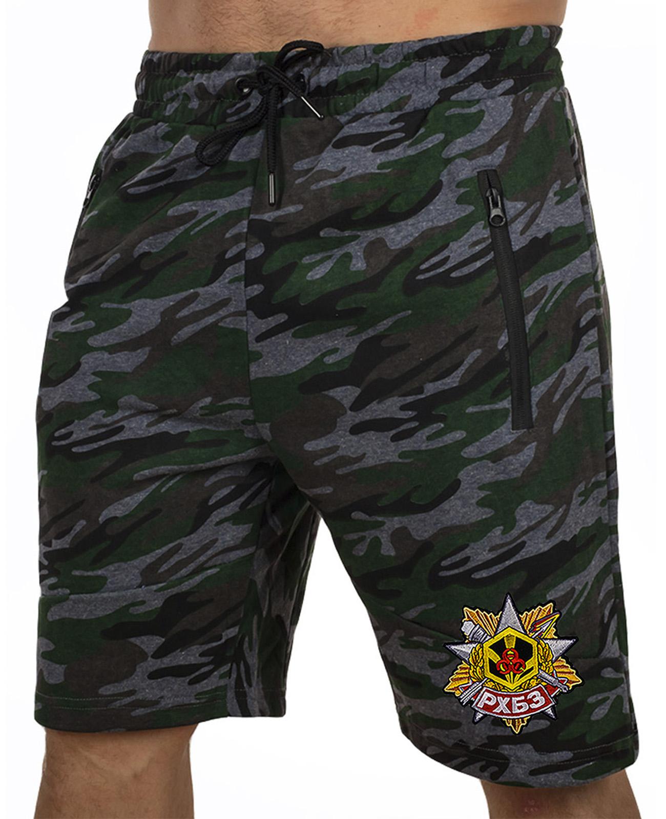 Купить армейские камуфляжные шорты с карманами и нашивкой РХБЗ по экономичной цене