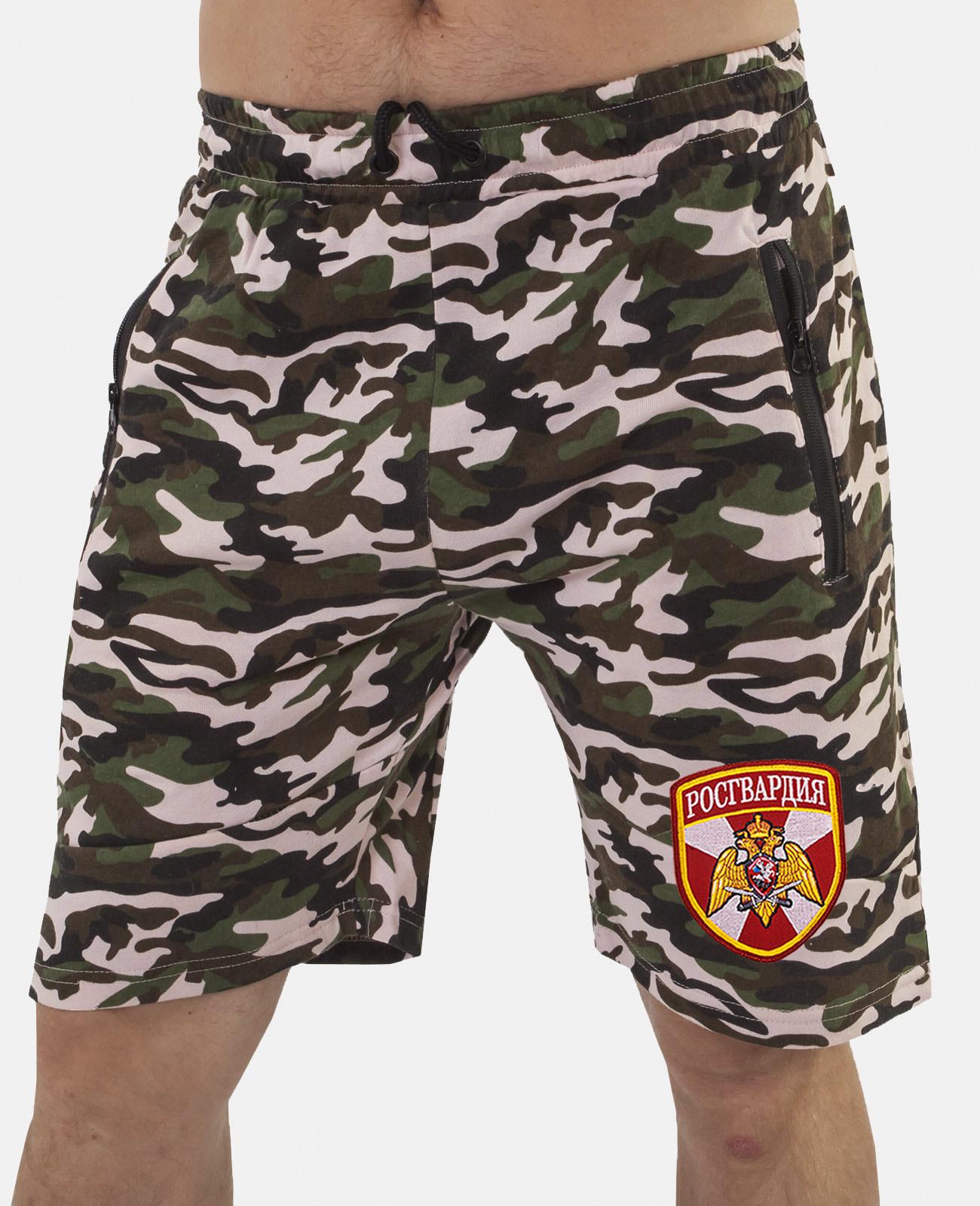 Купить армейские камуфляжные шорты с нашивкой Росгвардия оптом или в розницу