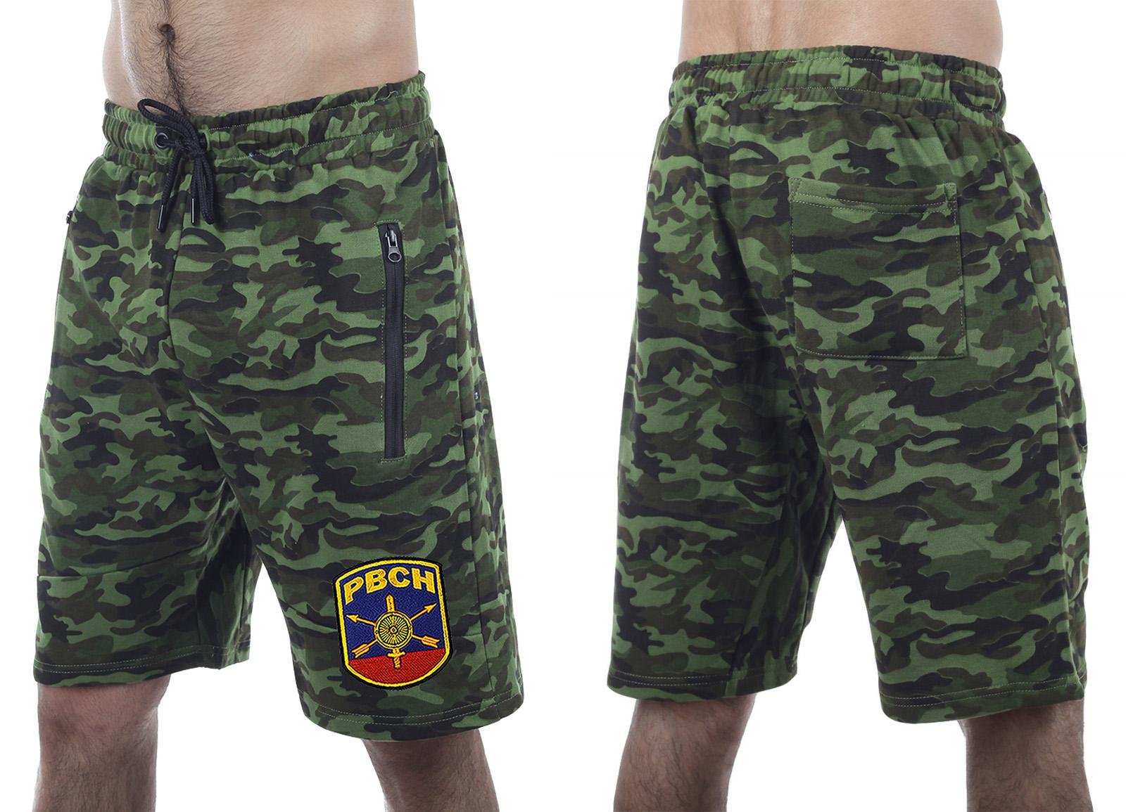 Армейские комфортные шорты с карманами и нашивкой РВСН - заказать оптом