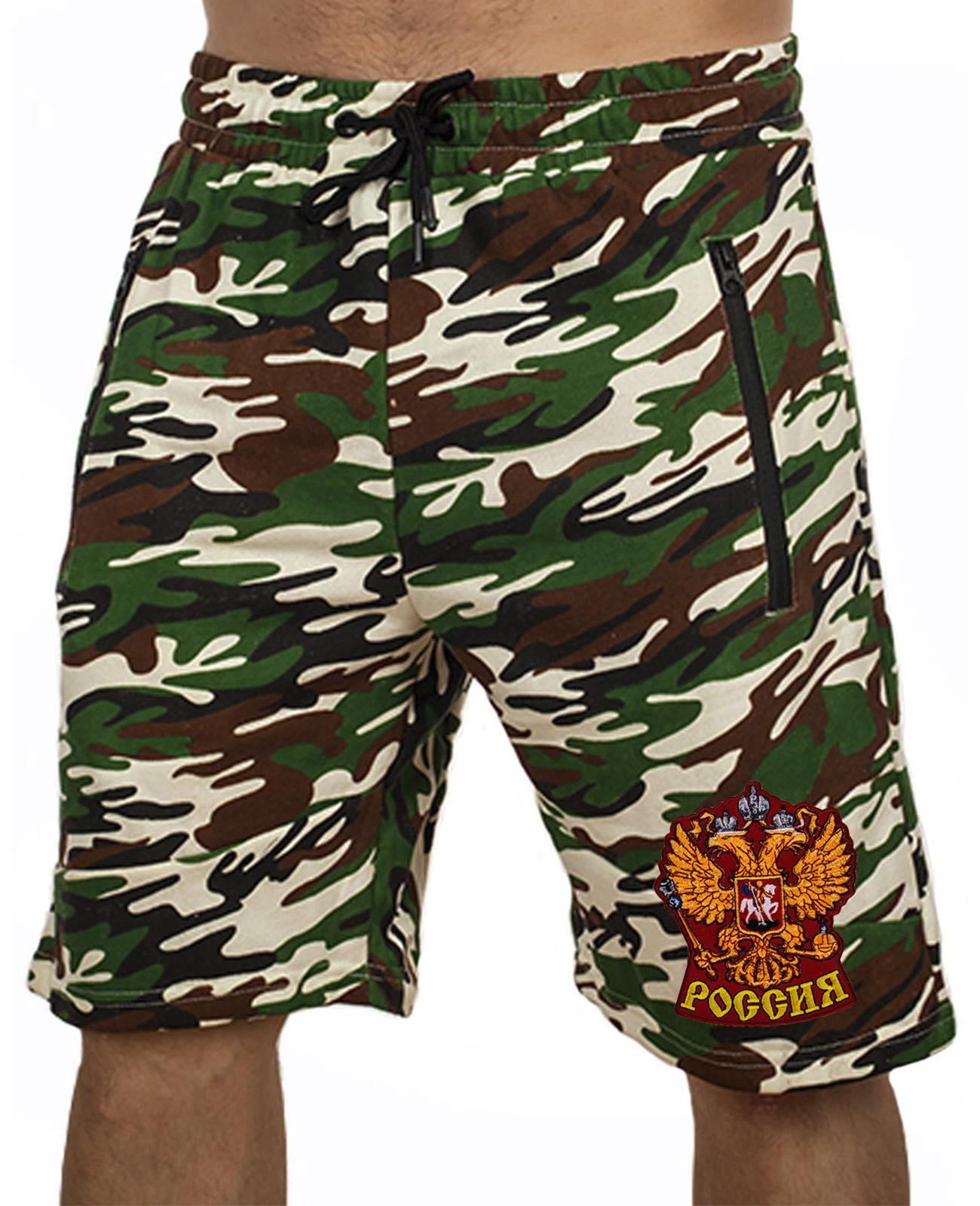 Купить армейские надежные шорты с нашивкой Россия в подарок патриоту