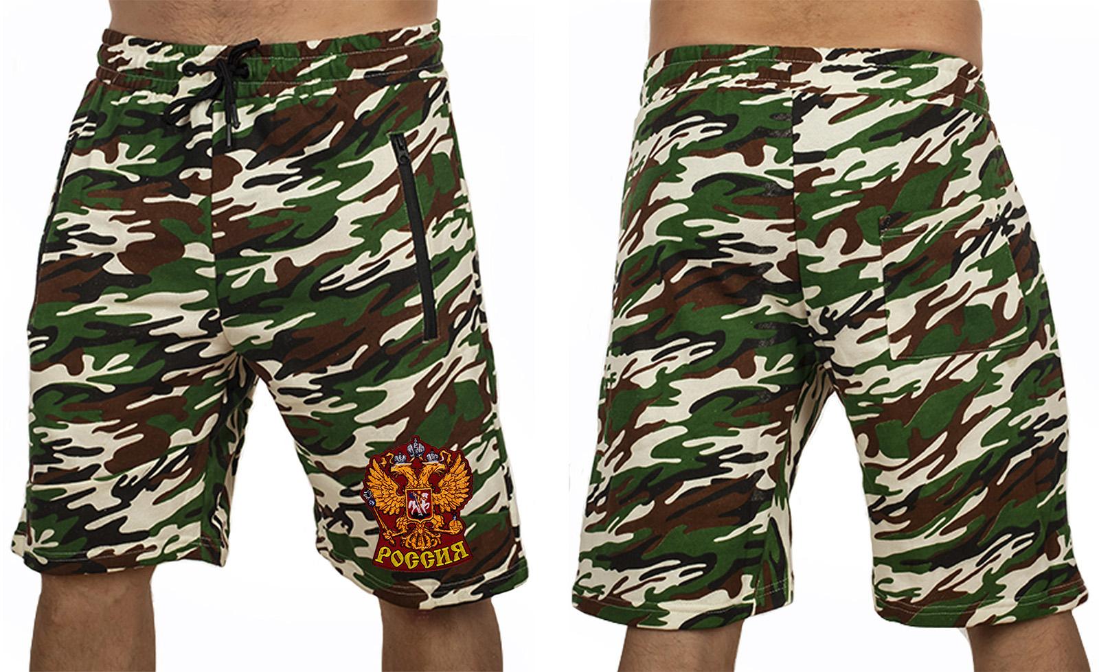 Армейские надежные шорты с нашивкой Россия - купить с доставкой