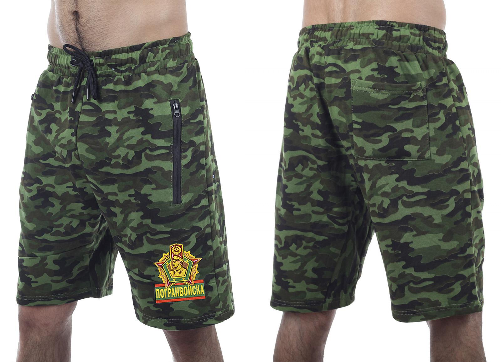 Армейские оливковые милитари-шорты с нашивкой Погранвойска - купить оптом