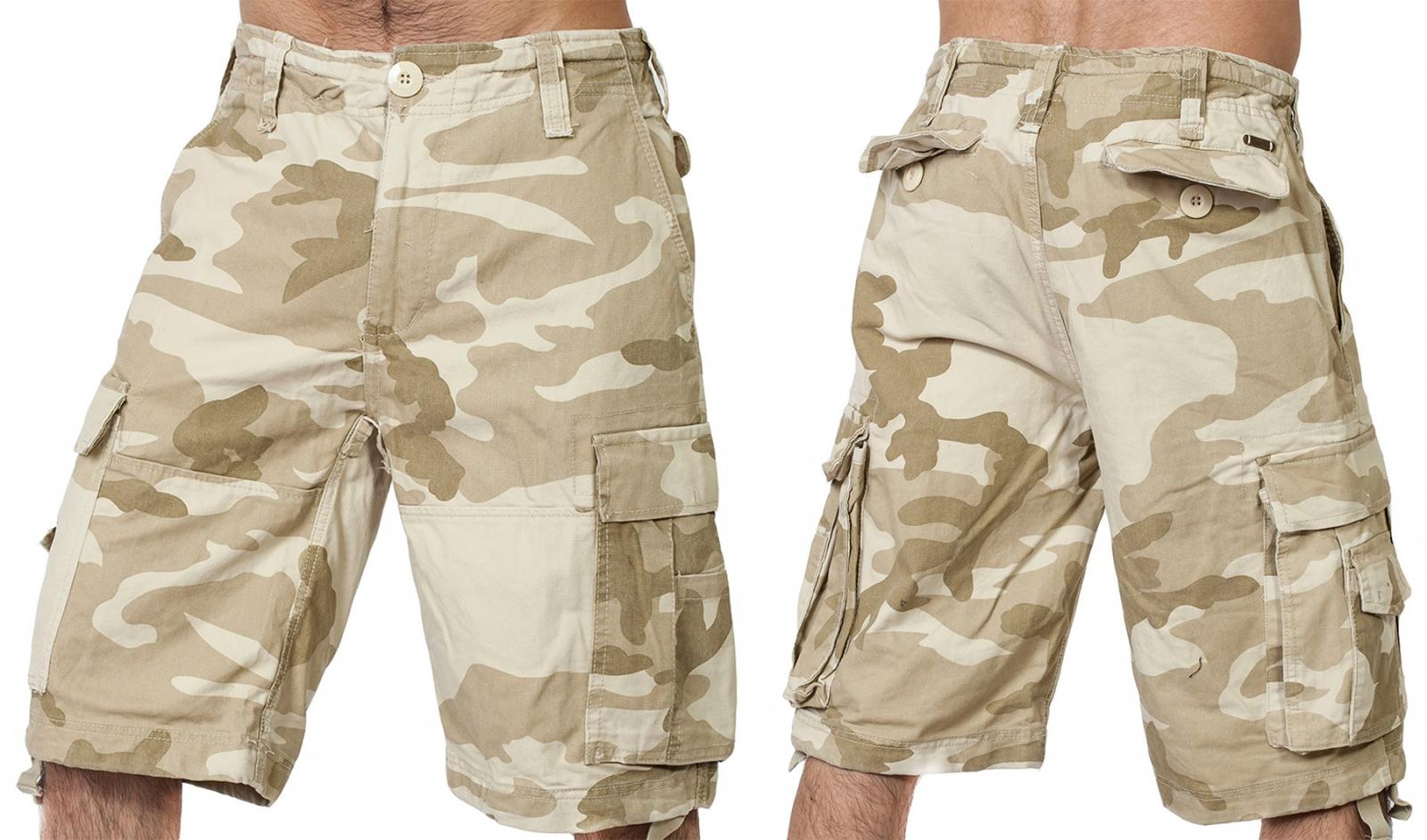 Армейские шорты карго в пустынном камуфляже от Brandit.