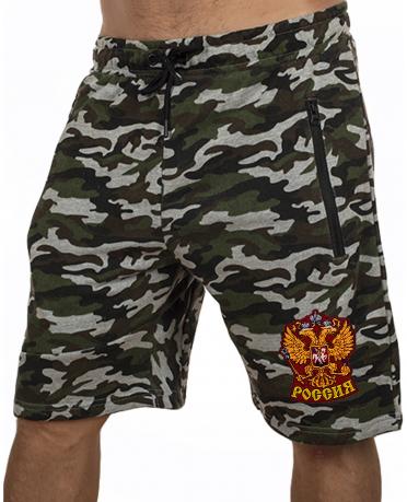 Армейские шорты удлиненного фасона с нашивкой Россия - заказать выгодно