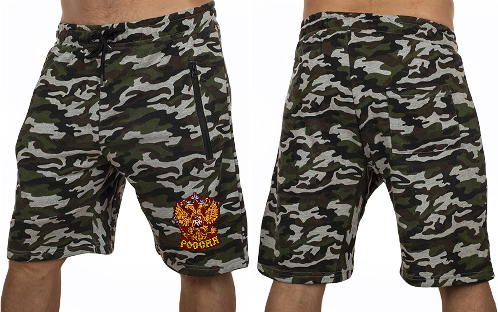 Армейские шорты удлиненного фасона с нашивкой Россия - заказать оптом