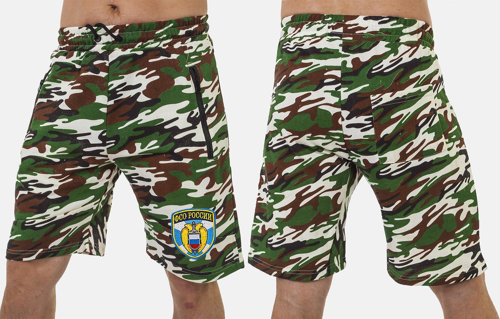 Армейские свободные шорты с нашивкой ФСО - купить по низкой цене