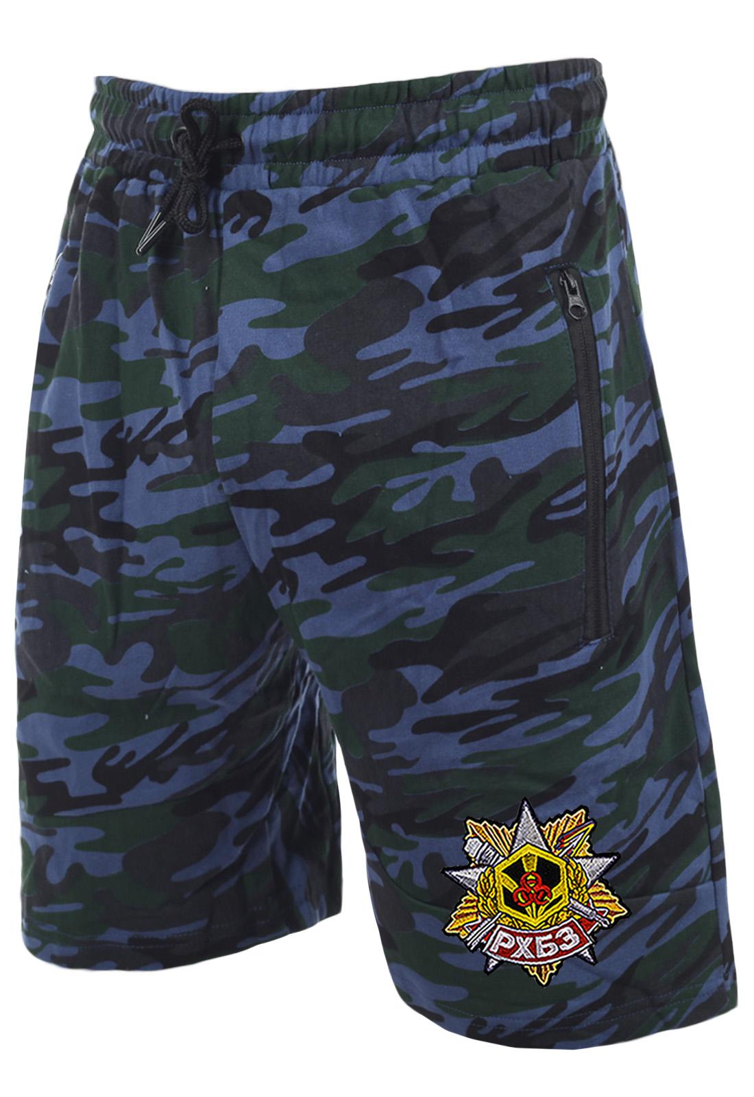 Армейские трендовые шорты с карманами и нашивкой РХБЗ