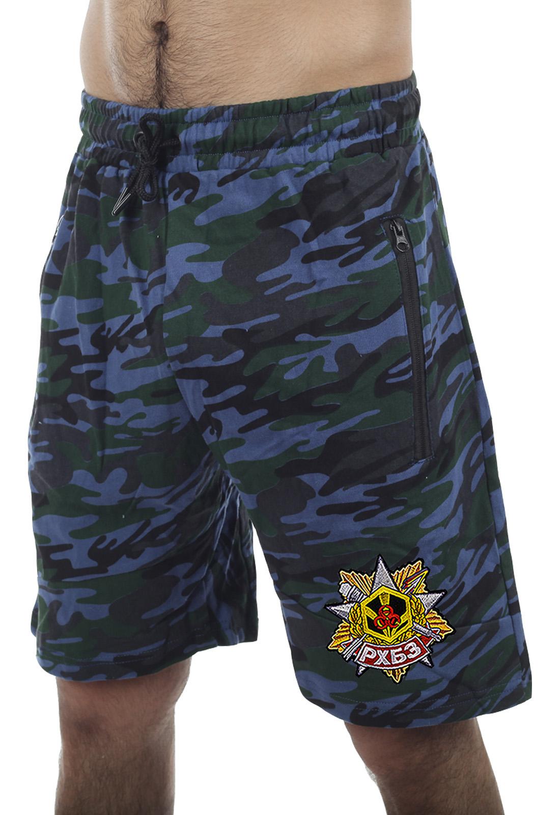 Купить армейские трендовые шорты с карманами и нашивкой РХБЗ по сниженной цене