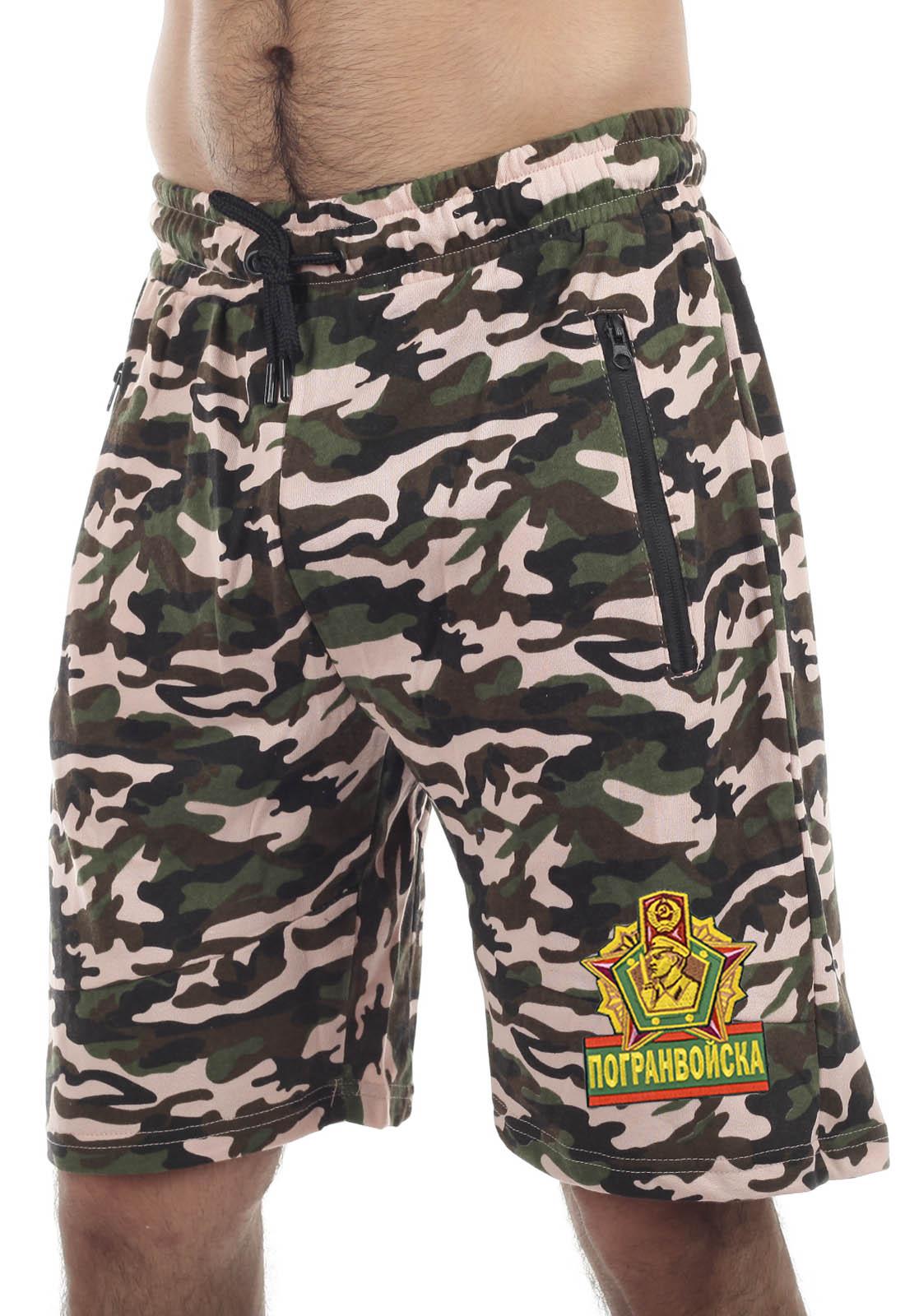 Купить армейские трикотажные шорты с карманами и нашивкой Погранвойска с доставкой в ваш город