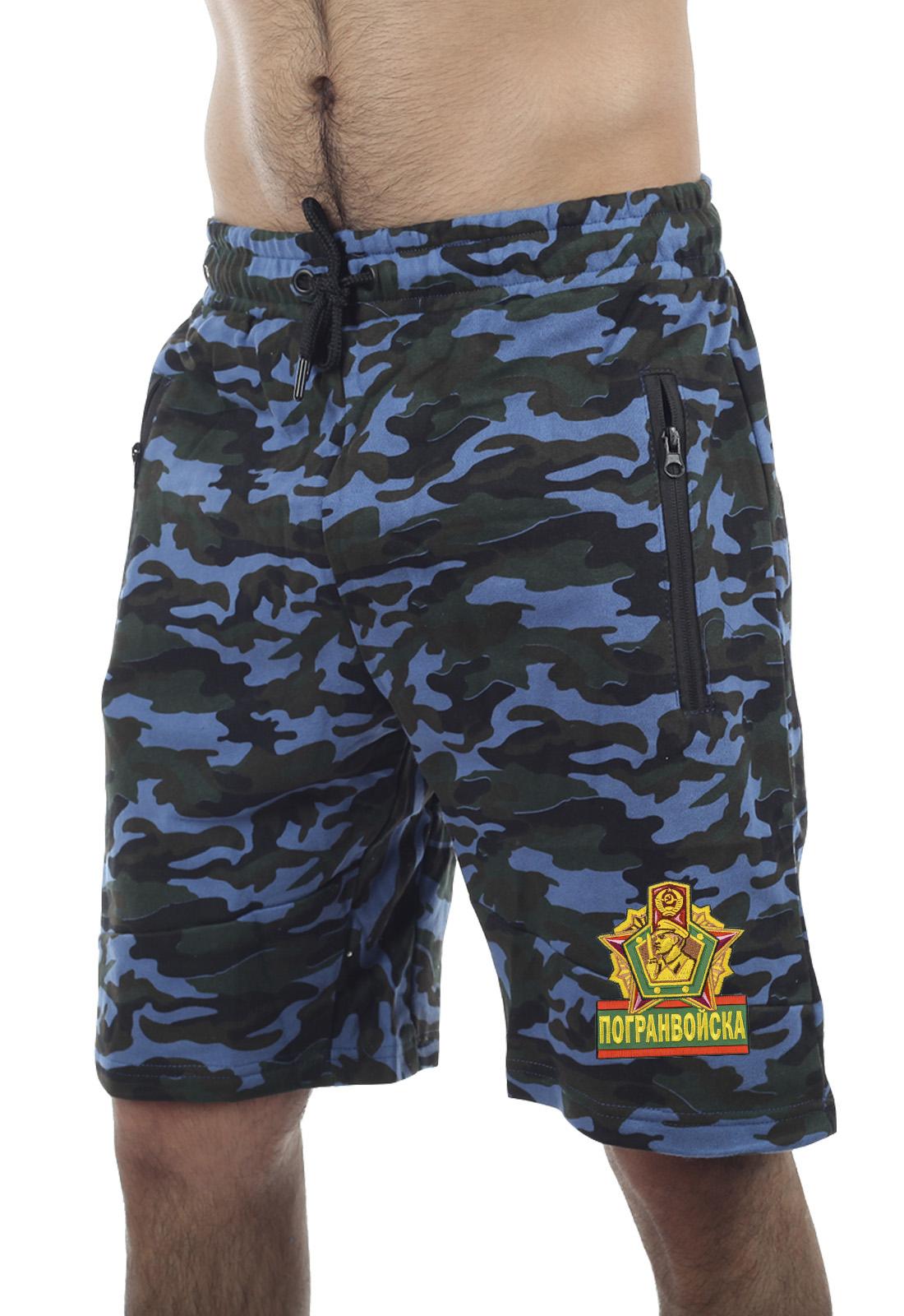 Купить армейские трикотажные шорты с нашивкой Погранвойска выгодно оптом