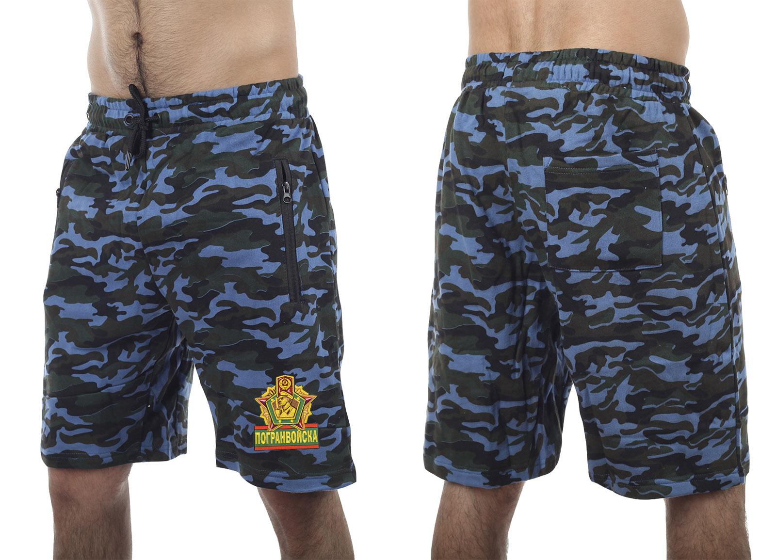 Армейские трикотажные шорты с нашивкой Погранвойска - заказать с доставкой