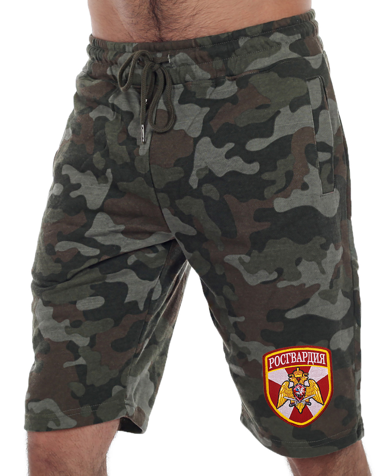 Купить армейские удлиненные милитари шорты с нашивкой Росгвардия в подарок мужчине