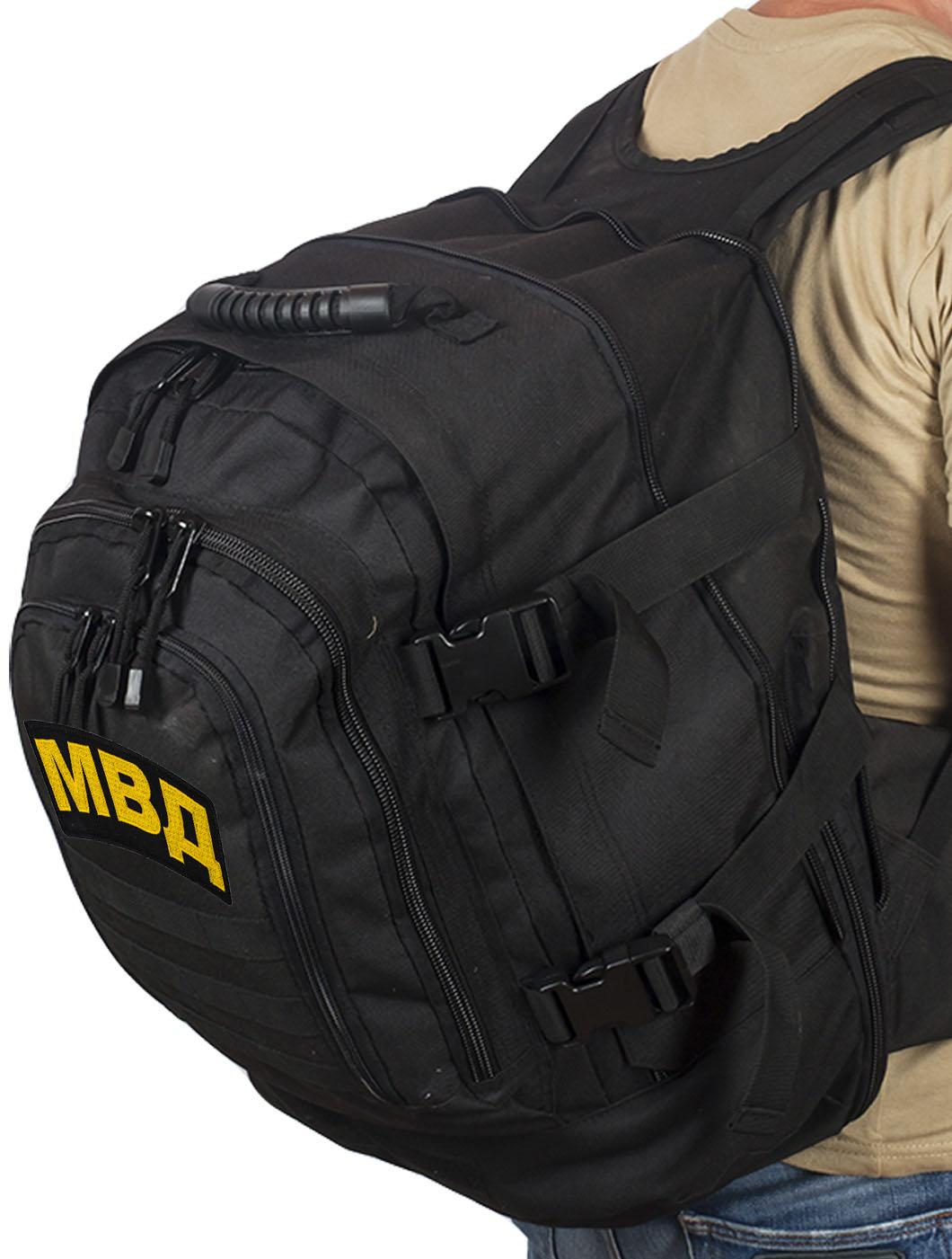 Армейский черный рюкзак с нашивкой МВД - купить онлайн