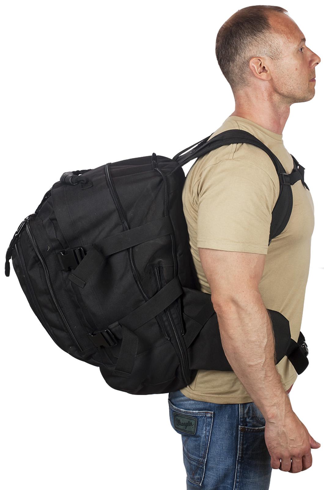 Армейский черный рюкзак с нашивкой МВД - купить по низкой цене