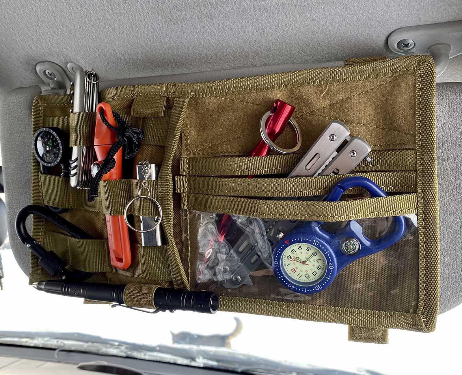 Армейский органайзер на солнцезащитный козырек авто (хаки-песок)
