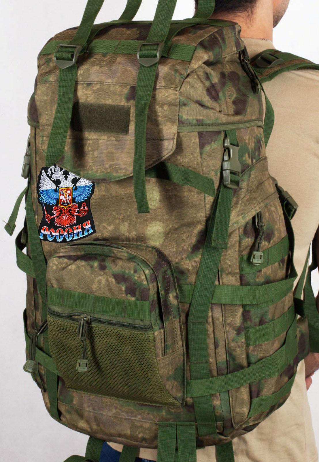 """Армейский походный рюкзак камуфляж A-TACS FG с эмблемой """"Россия"""""""