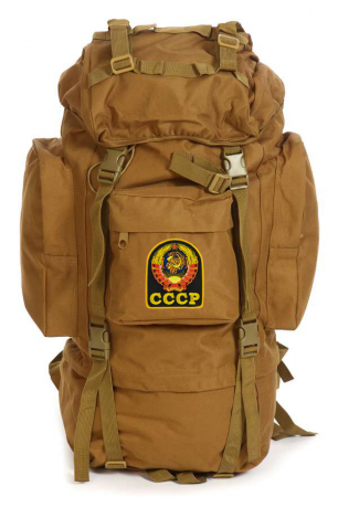 Армейский рейдовый рюкзак на 60 литров (хаки-песок) с эмблемой СССР