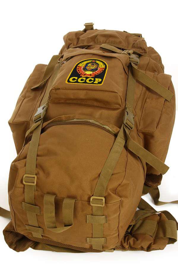 Армейский рейдовый рюкзак на 60 литров (хаки-песок) с эмблемой СССР оптом в Военпро