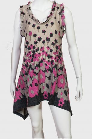 Ассиметричное платье туника Angie с рюшами.