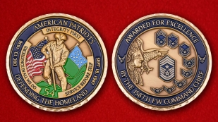 Avarder For Excellence By The 158TH FW Command Chief Challenge Coin - obverse and reverse