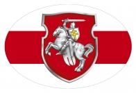 Автомобильная наклейка с Погоней и бело-красно-белым флагом Беларуси