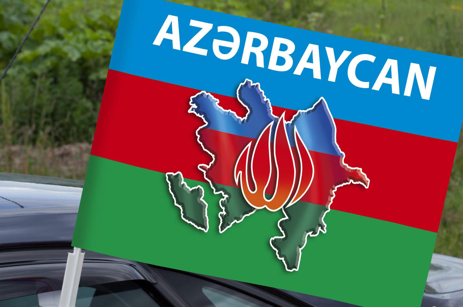 Автомобильный флаг Азербайджана в границах-2020