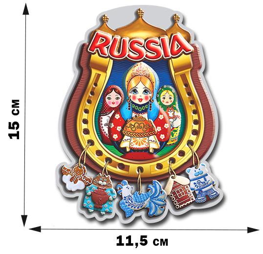 Подкова НА СЧАСТЬЕ! Заговорённая на везение и удачу автонаклейка РОССИЯ с русскими матрешками, да расписными пряничками