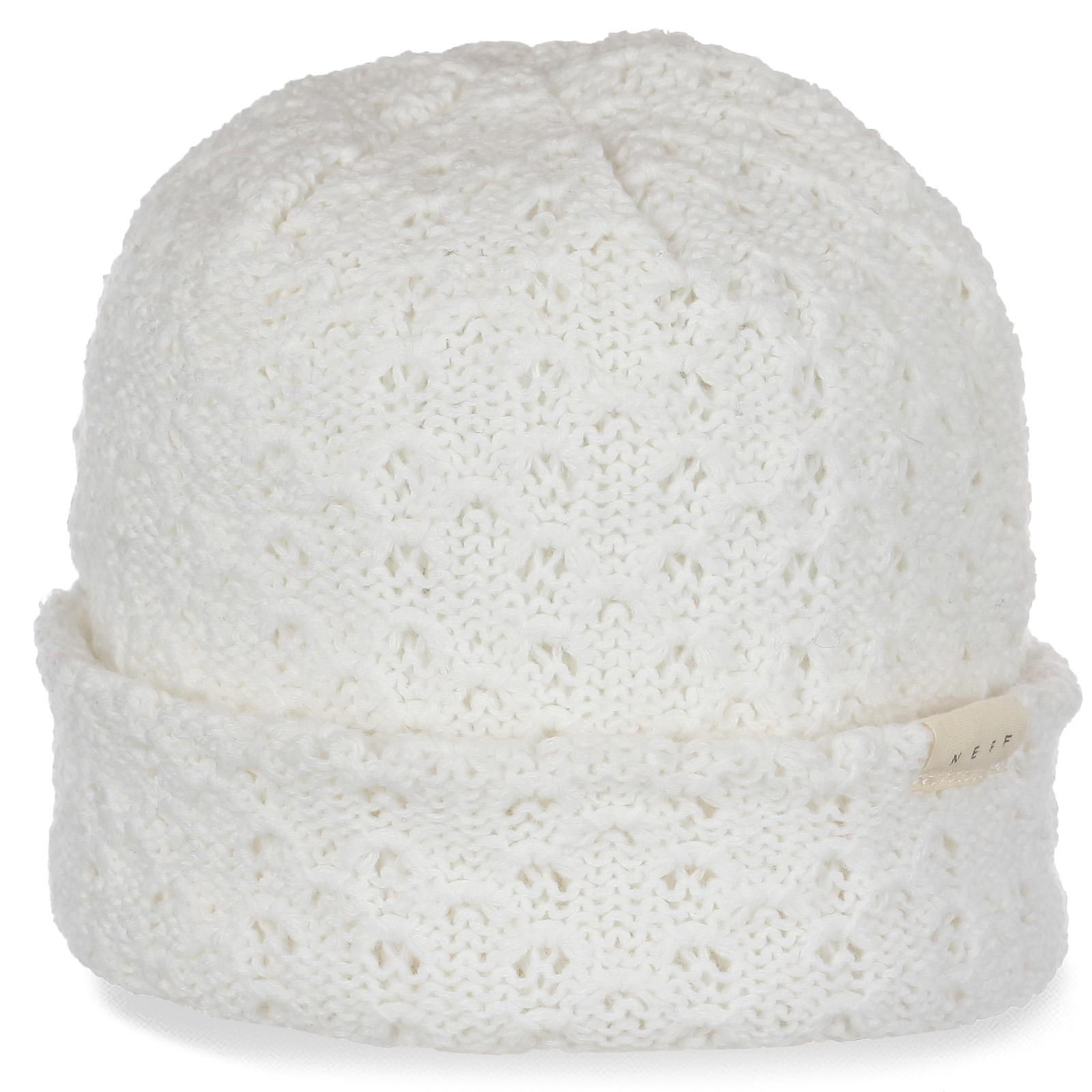 Ажурная белоснежная женская шапка с отворотом от бренда Neff для милых девушек