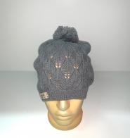 Ажурная женская шапка с помпоном