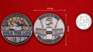 Baltimore polise tactical unit Challenge Coin - comparative size