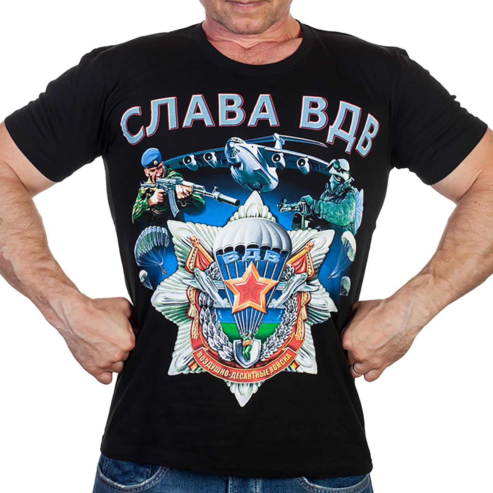 Мужская черная футболка «Слава ВДВ»