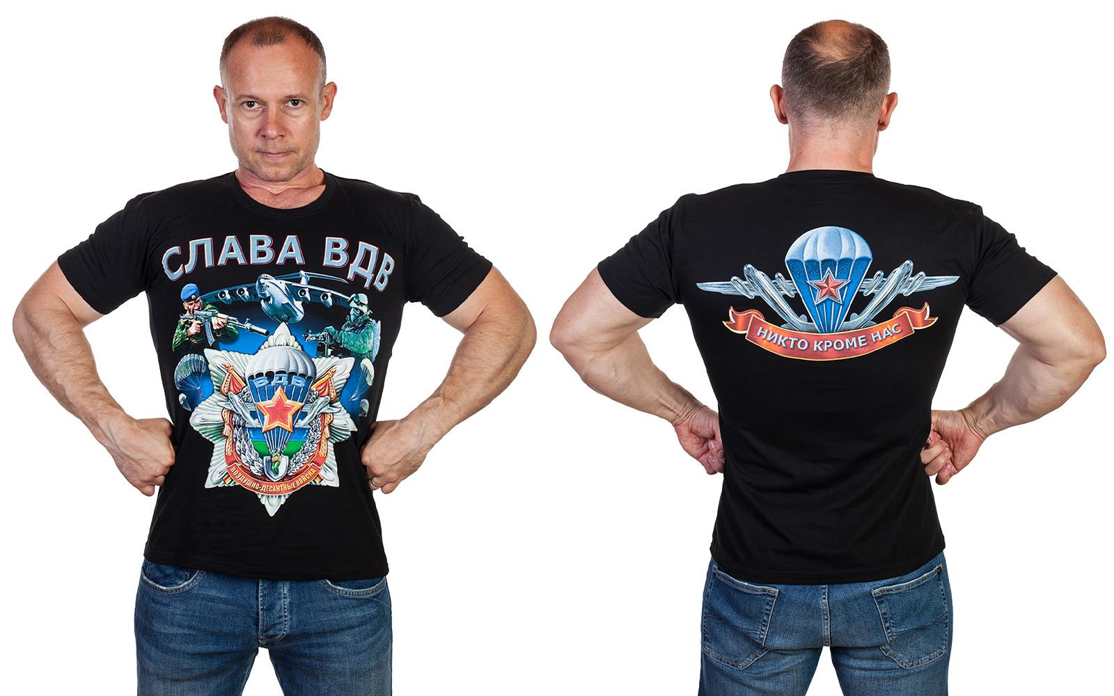 Мужская черная футболка «Слава ВДВ» - купить оптом