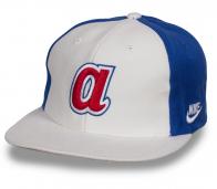 Бело-синяя бейсболка с прямым козырьком