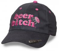 О, детка, такой у тебя ещё нет! Женская бейсболка с провокационной вышивкой «BEER BITCH». Прикольный дизайн с объемной бутылочкой пива и ОТКРЫВАЛКОЙ