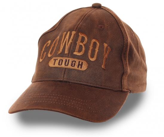 Мужская бейсболка COWBOY tough – модный оттенок гавана-браун, текстурный приятный хлопок, фирменная вышивка. Твоя индивидуальность по цене 399 р