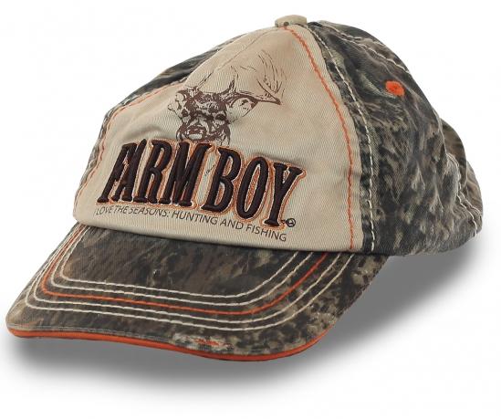 Бейсболка FARM BOY. Модель для тех, кто всегда с нетерпением ждет сезона охоты и рыбалки. Харизматичные потёртости, камуфляжный цвет, объемная фактурная вышивка