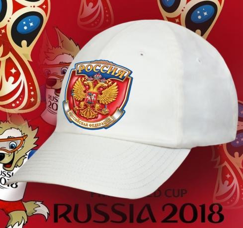 Бейсболка РОССИЯ белого цвета.