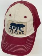 Бейсболка Alaska бордового цвета с изображением медведя