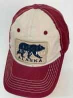 Бейсболка Alaska бордового цвета с медведем на белой тулье