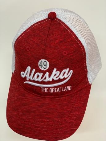Бейсболка Alaska красный меланж с белой сеткой