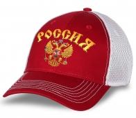 """Бейсболка болельщика """"Россия"""" с золотым гербом страны. Аккуратная воздухопроницаемая сетка. Яркий цвет не выгорает. Модель - самое то! Заказывай смело!"""