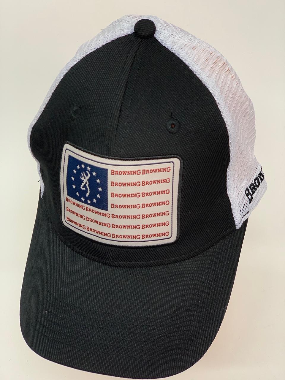 Бейсболка Browning черного цвета с сеткой и нашивкой на тулье