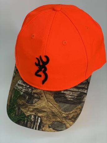 Бейсболка Browning оранжевого цвета с камуфляжным козырьком