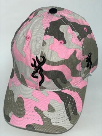 Бейсболка Browning розово-серый камуфляж с вышивкой