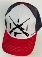 Бейсболка Browning со скрещенными ружьями на тулье и красным козырьком