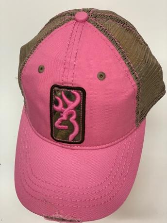 Бейсболка Browning светло-розового цвета с бронзовой сеткой
