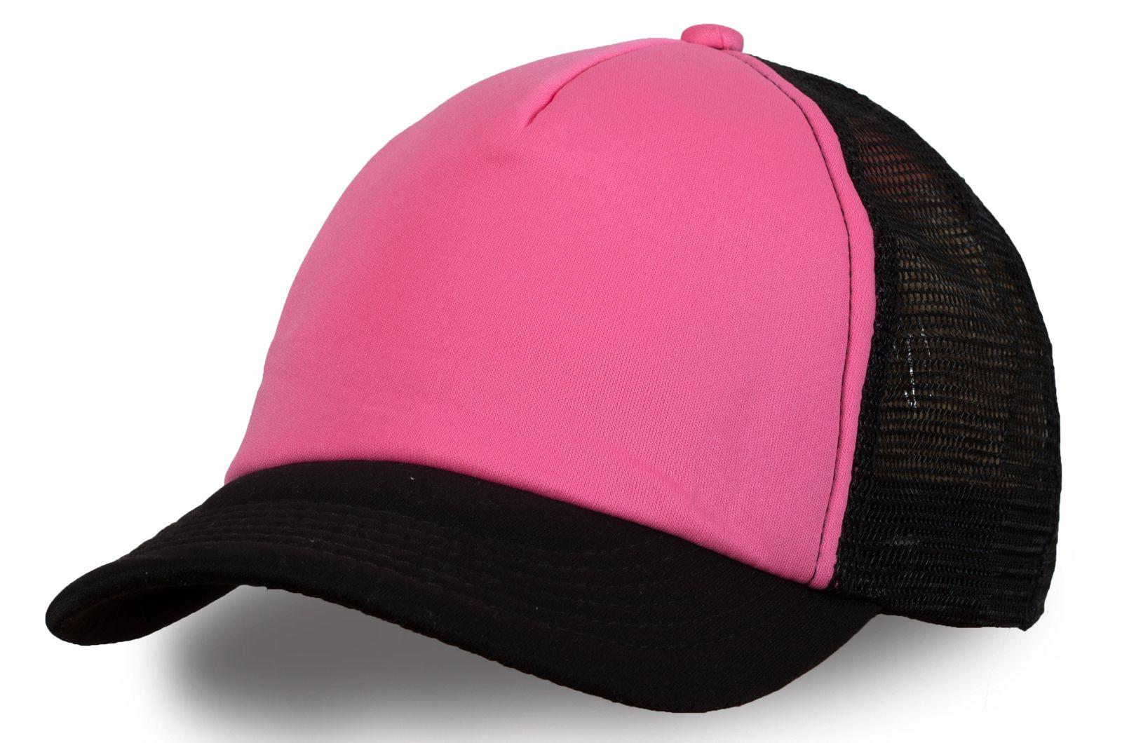 Бейсболка чёрно-розовая с сеткой