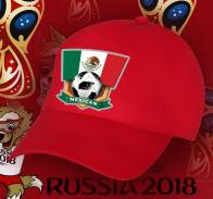 Красная фанатская бейсболка с принтом «МЕКСИКА».