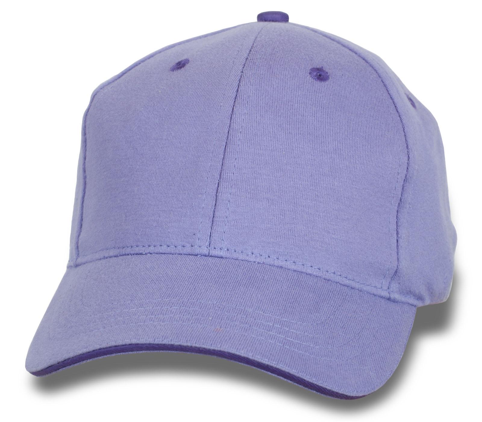 Однотонная фиолетовая бейсболка под печать